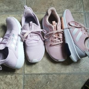 Girl's Adidas cloud foam bundle of 2 pairs sneaker